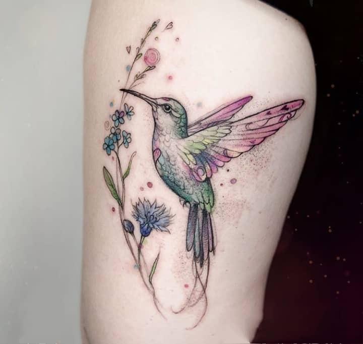 колибри тату цвет