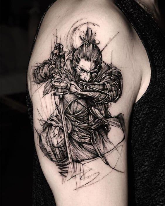 чб самурай тату