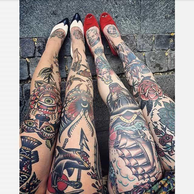 тату на коленях женские