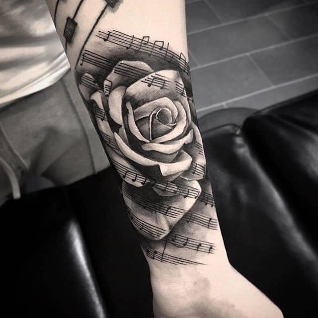тату ноты и роза