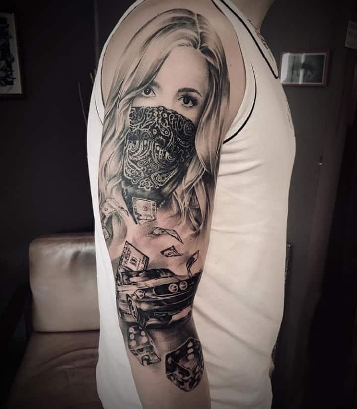 мексиканские тату на плече