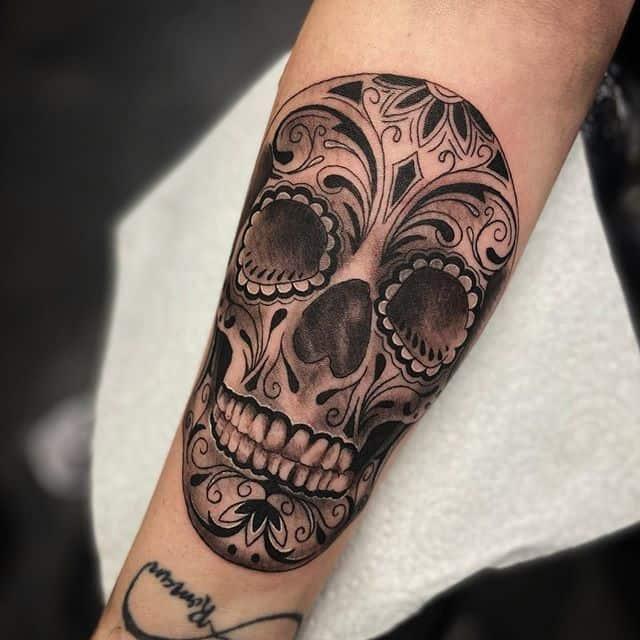 тату мексиканский череп