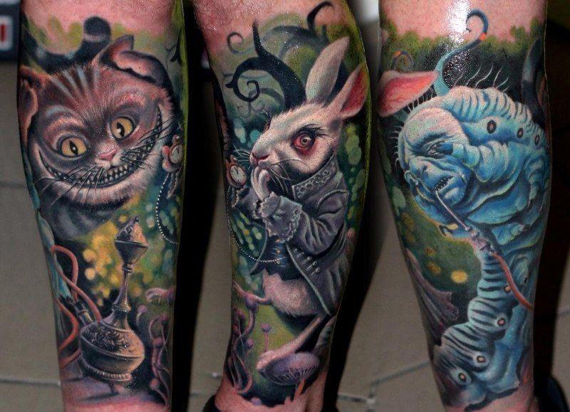 Татуювання за мотивами «Аліса в країні чудес»