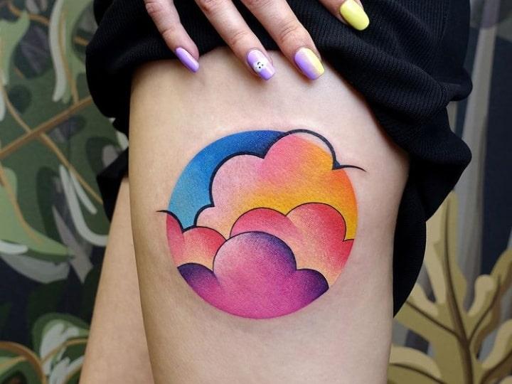 тату цветные облака
