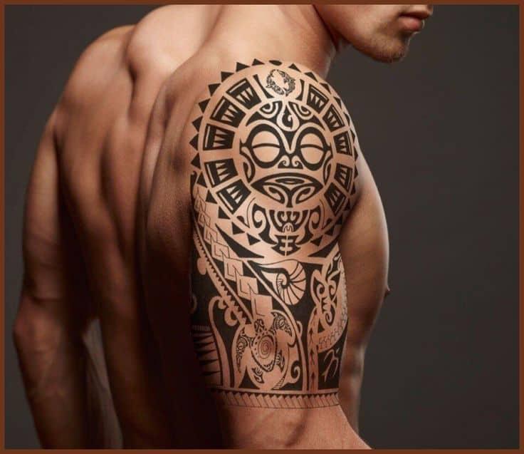 тату солнца в стиле Полинезия