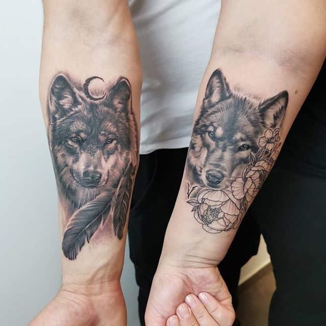 волк и волчица - парная тату