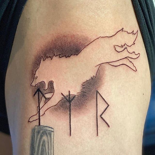 прыгающий волк тату и руны