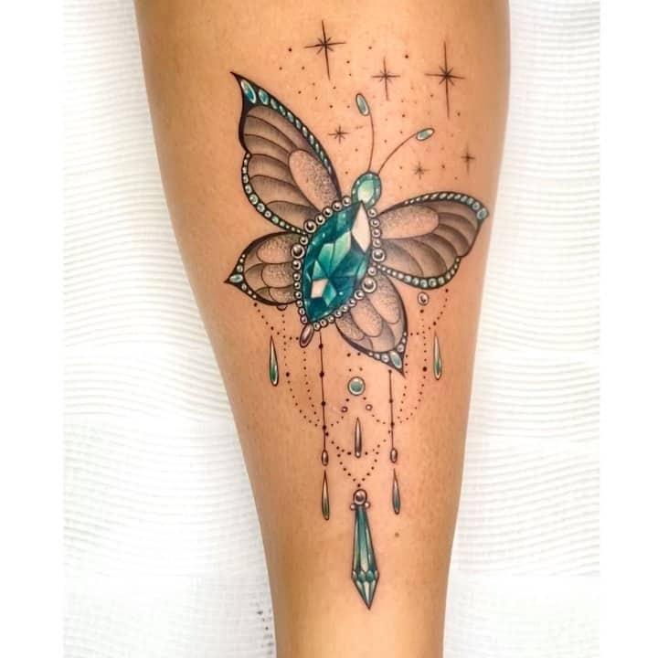 Тату кристалл бабочка