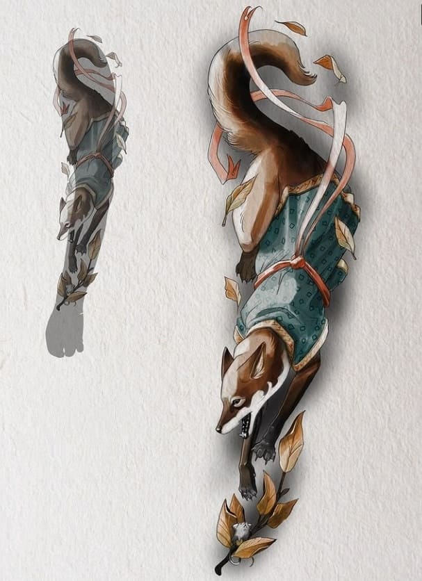 Эскиз тату рукав лиса