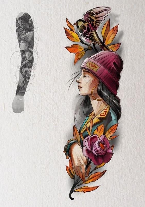 Эскиз тату рукав цветной