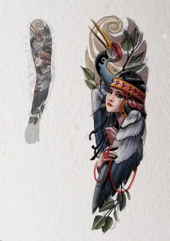 Эскиз тату рукав девушка птица