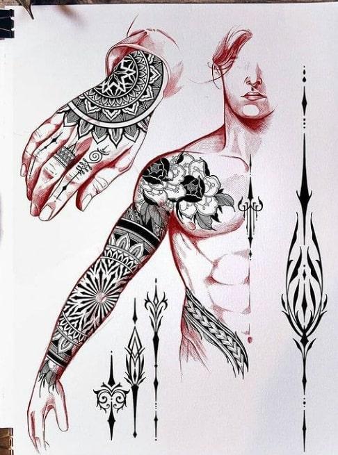 Эскиз этнический тату рукав