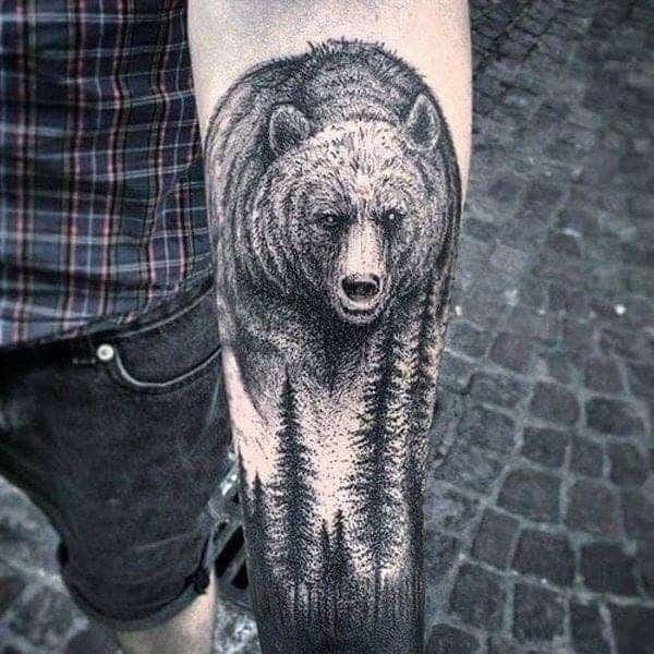 тату бурий ведмідь