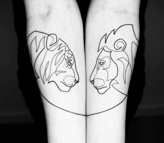 тату лев и львица парные