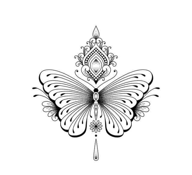 эскиз тату на шею бабочка