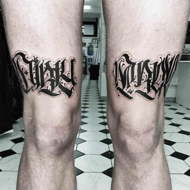 тату надписи на ноге мужские