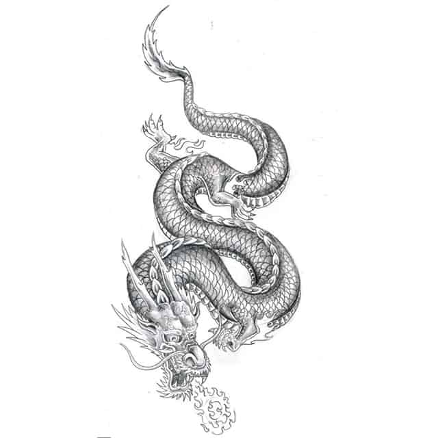 эскиз тату дракон китайский