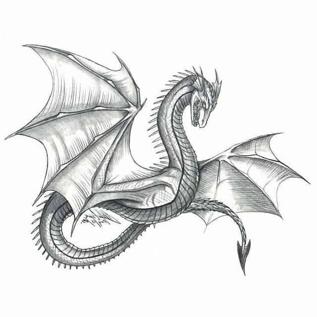 эскиз тату дракон с крыльями