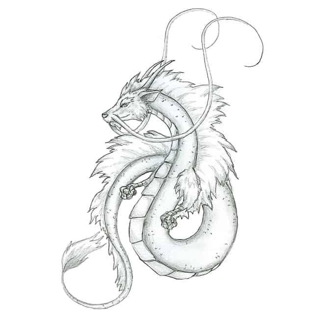 эскиз тату дракон японский