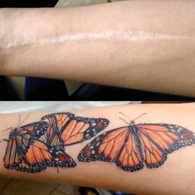тату на шраме на руке бабочки
