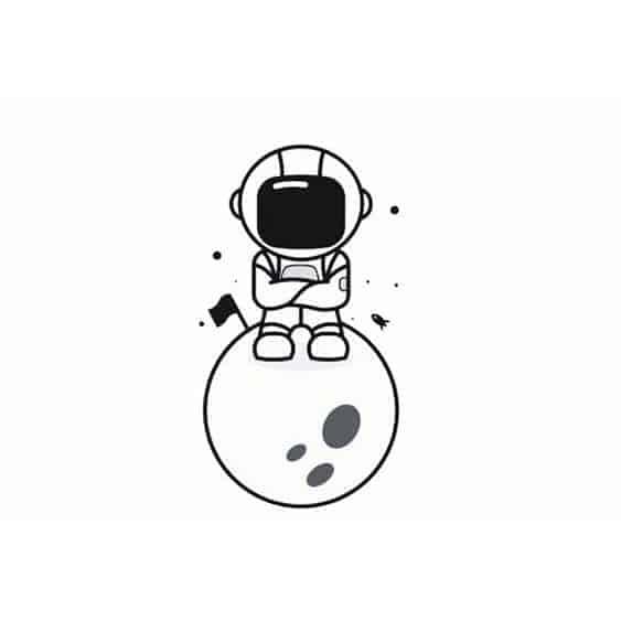 эскиз маленькая тату космонавт
