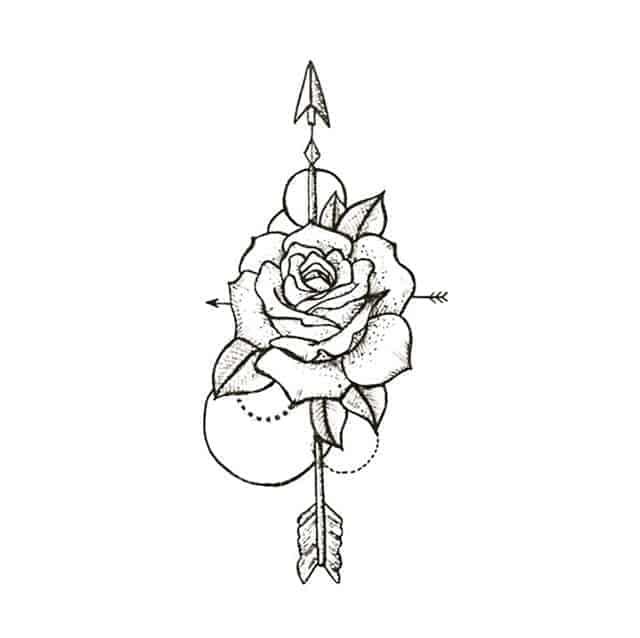 эскиз маленькая тату роза