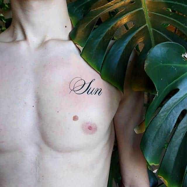 тату надпись на ключице мужская