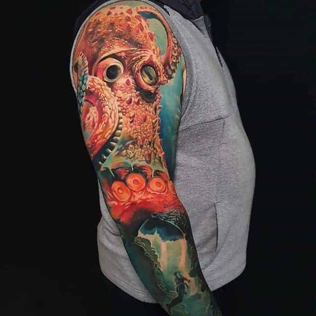 цветные тату рукав