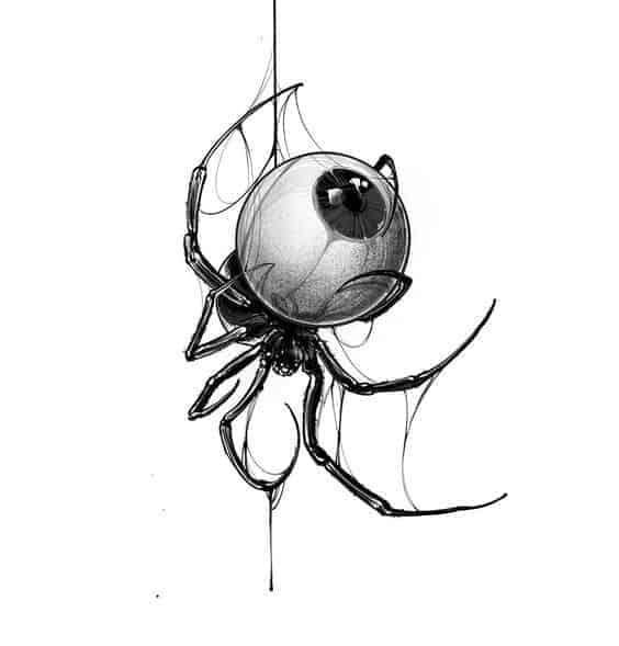 эскиз тату на шею паук