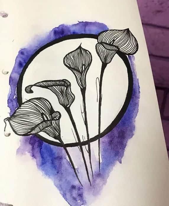 женский эскиз тату цветы