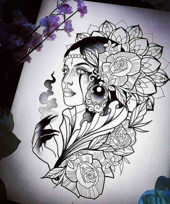 женский эскиз татуировки