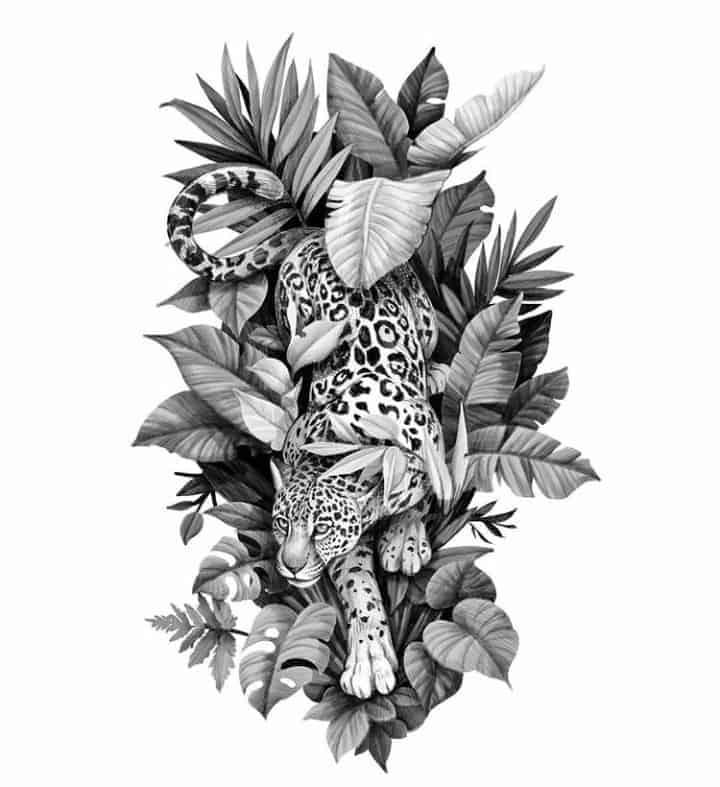 женский эскиз тату леопард