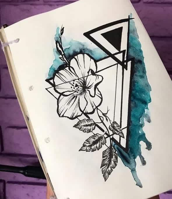 женский эскиз тату цветок