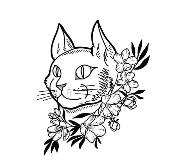 женский эскиз тату кот