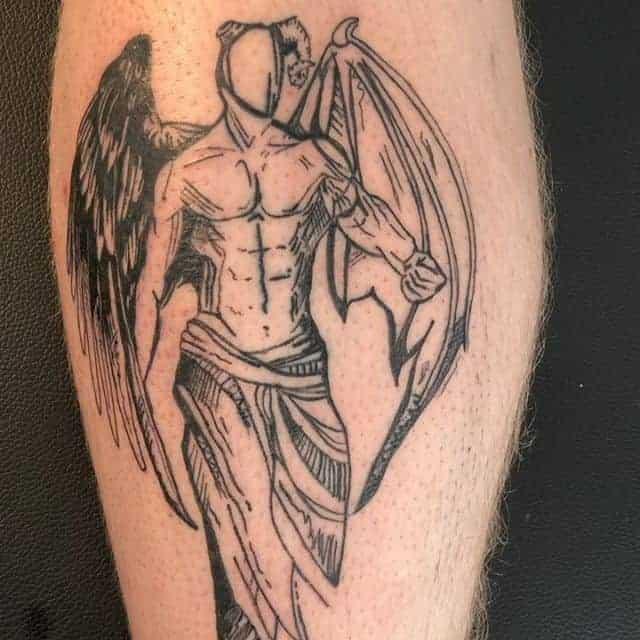 тату человек ангел и демон
