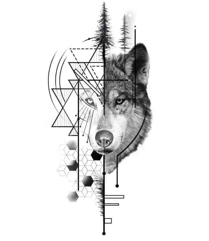 мужской тату эскиз волк