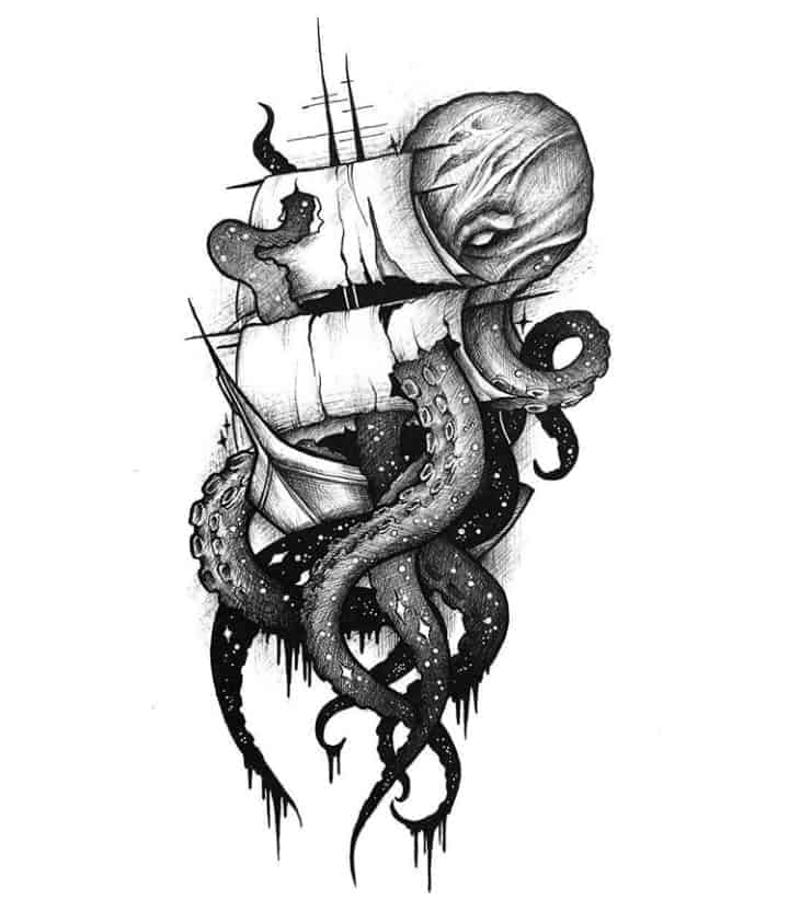 мужской тату эскиз корабль