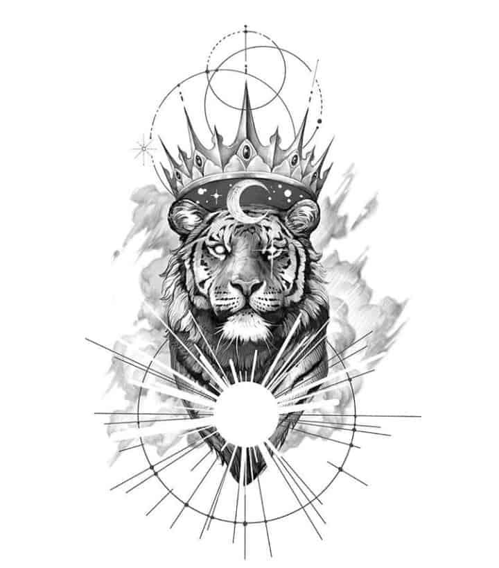 мужской тату эскиз тигр