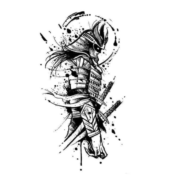 мужской тату эскиз самурай