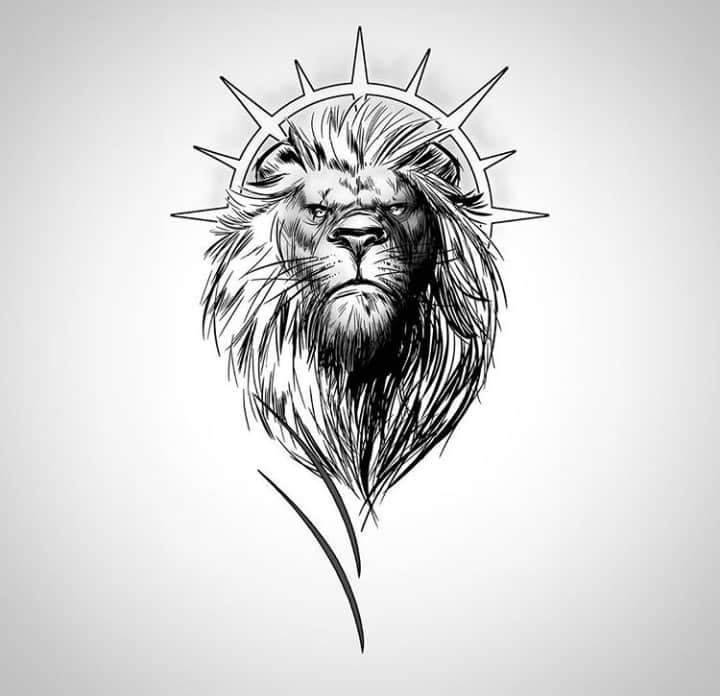 мужской тату эскиз лев