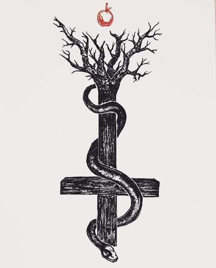 мужской тату эскиз крест
