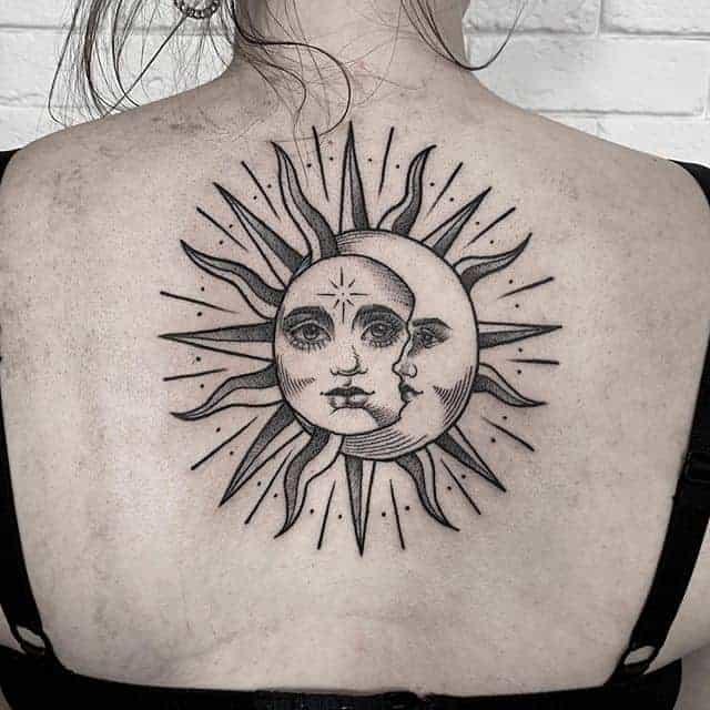 тату солнце и луна