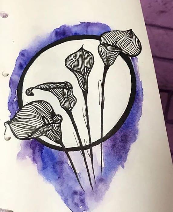 рисунок тату цветы
