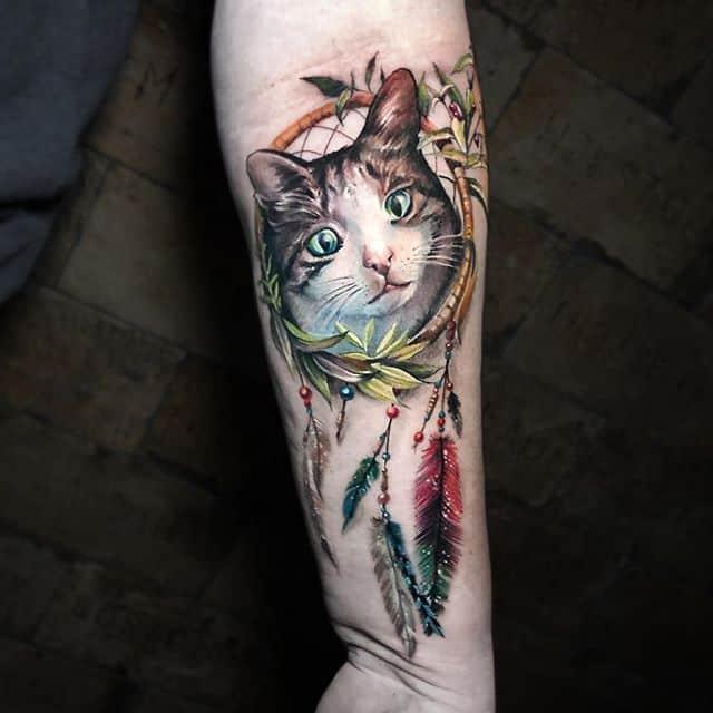 тату на руке кот