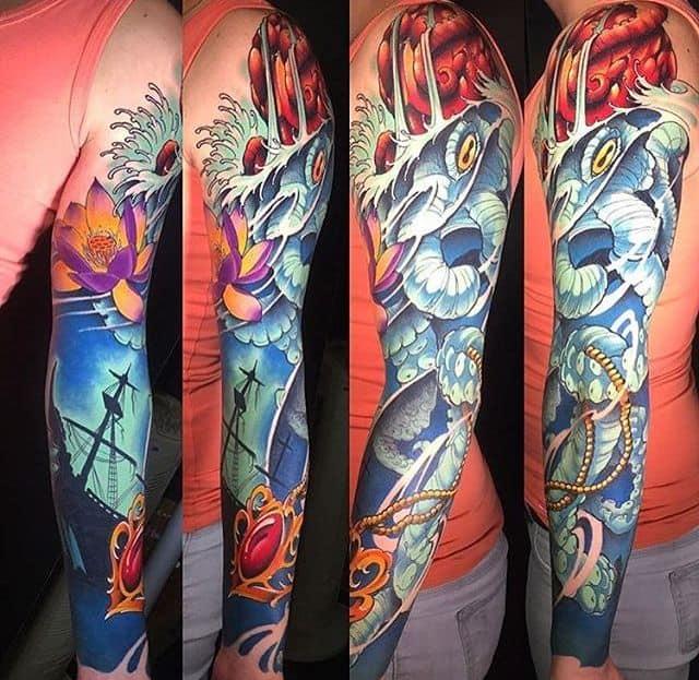 мужской рукав тату цветной