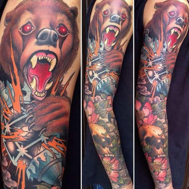 мужской рукав тату медведь