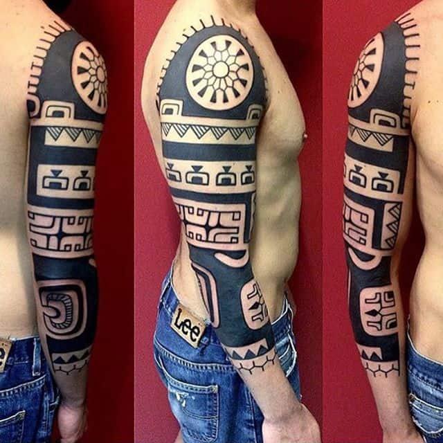 мужской рукав тату маори