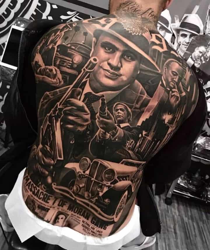 мужское тату на спине гангстеры