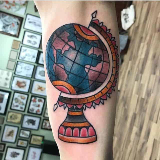 тату глобус земной шар