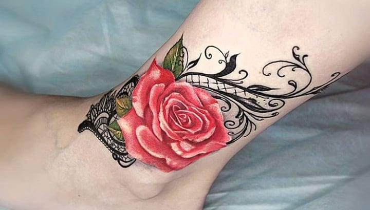 тату кружево роза